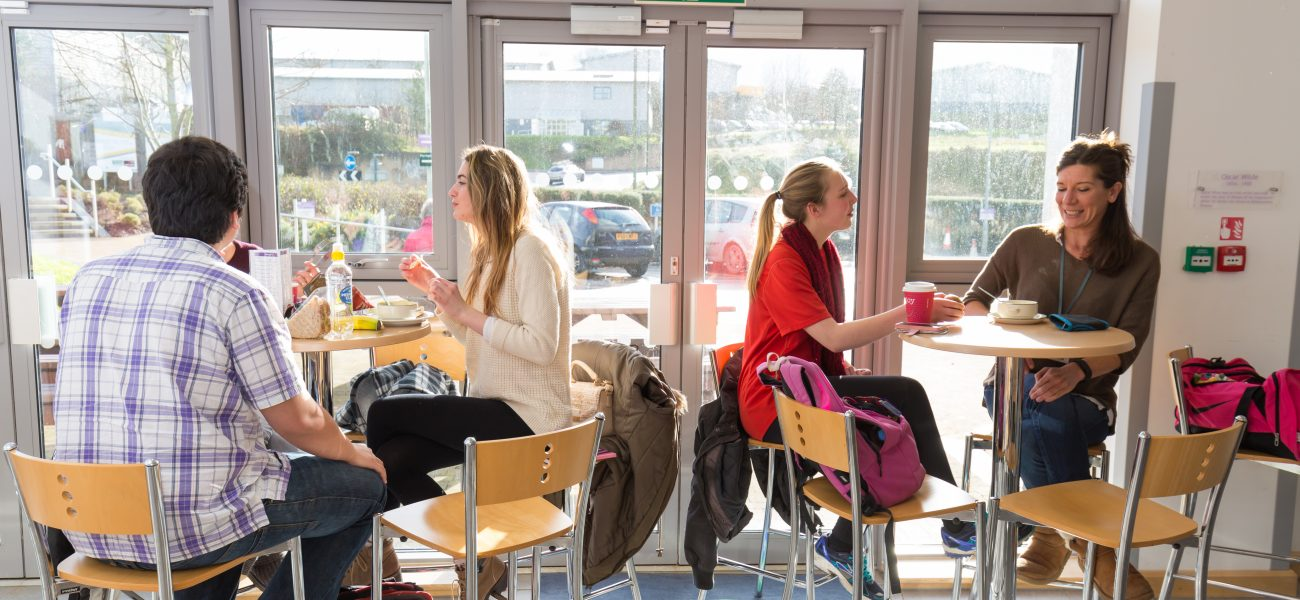 Degree students in the cafe