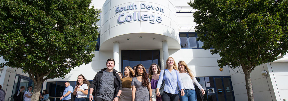 Students outside South Devon College