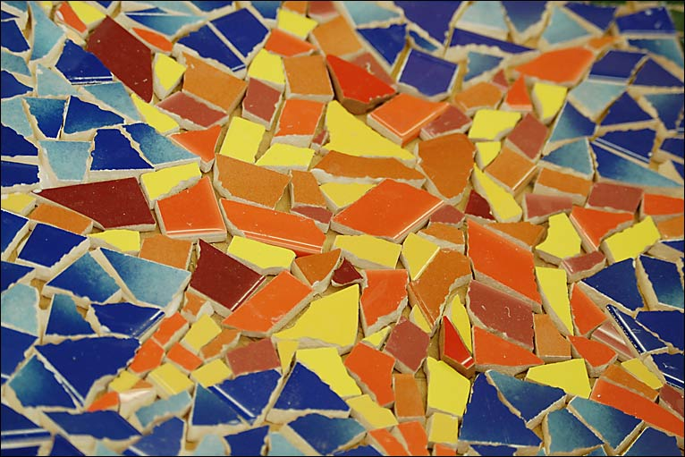 Mosaic in a sun shape
