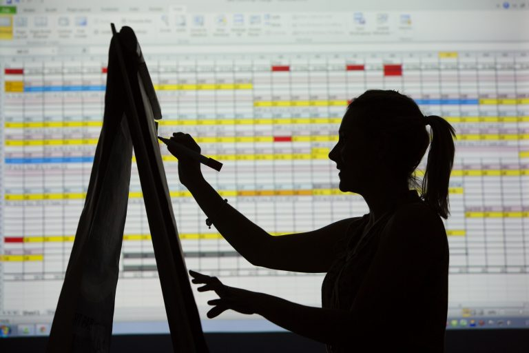 Silhouette of woman on large spreadsheet projected on a screen.