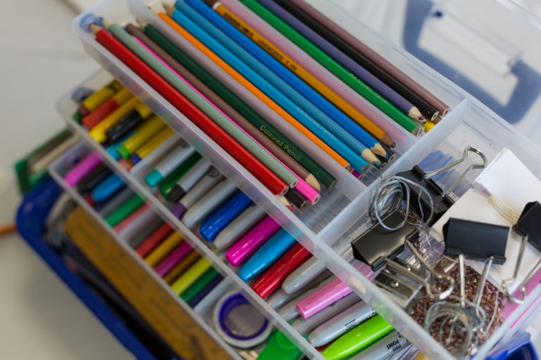 Close up of art materials in a box