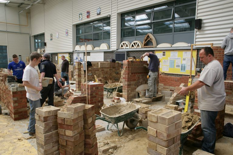 Students in the construction workshop