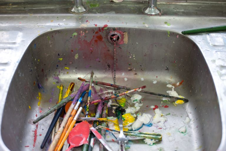Paintbrushes in the sink