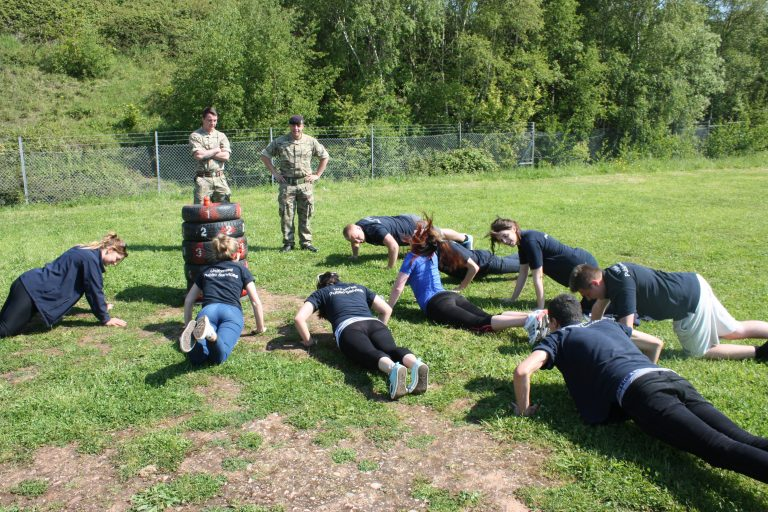 Students during an army drill