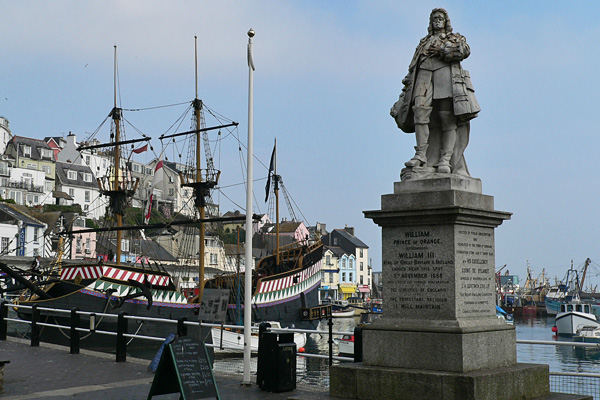William of Orange statue and the Golden Hind in Brixham harbour.