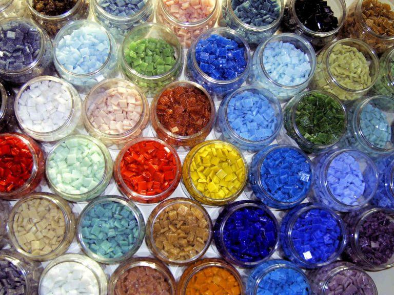 Pots of mosaic tiles