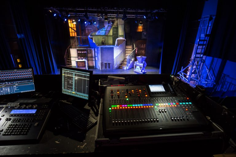 Lighting and sound technology on stage.
