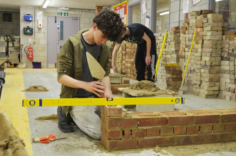 Bricklaying student at our Newton Abbot Campus.