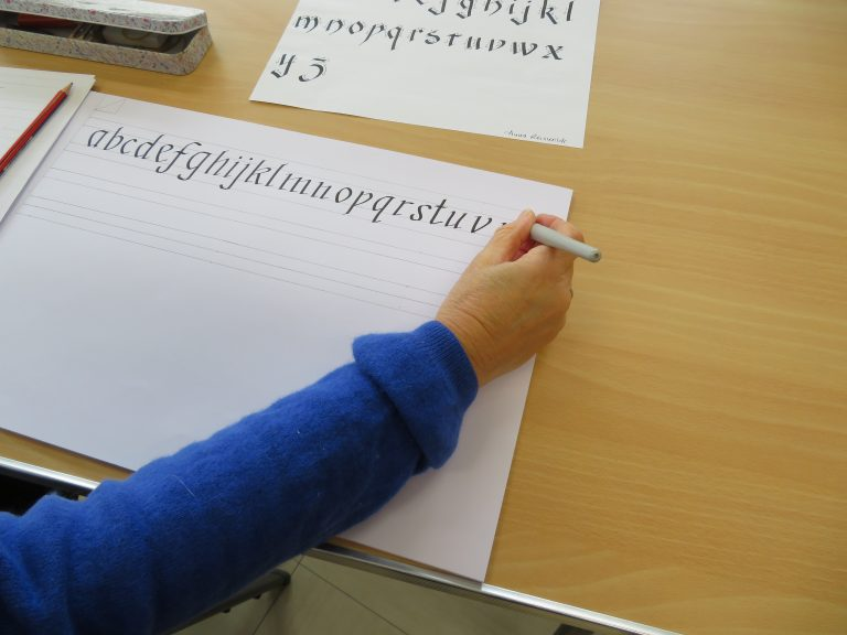 Student practising calligraphy