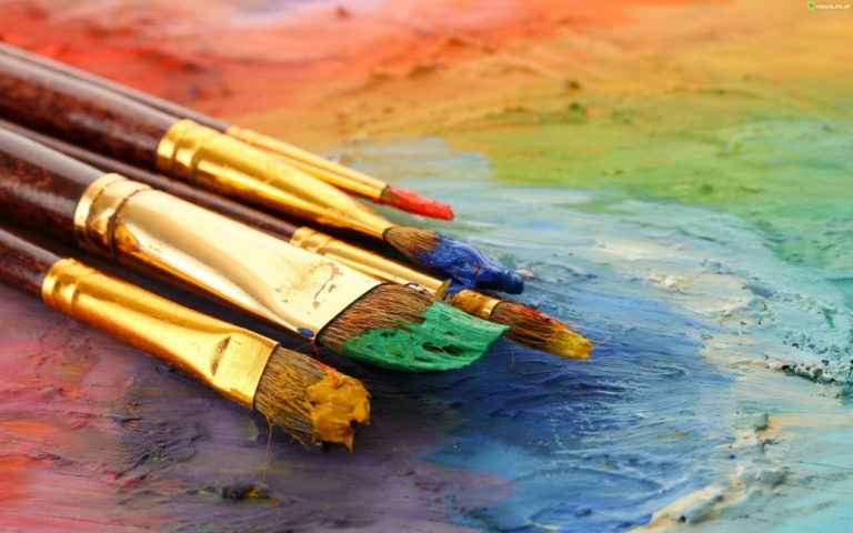 Close up of paintbrushes.