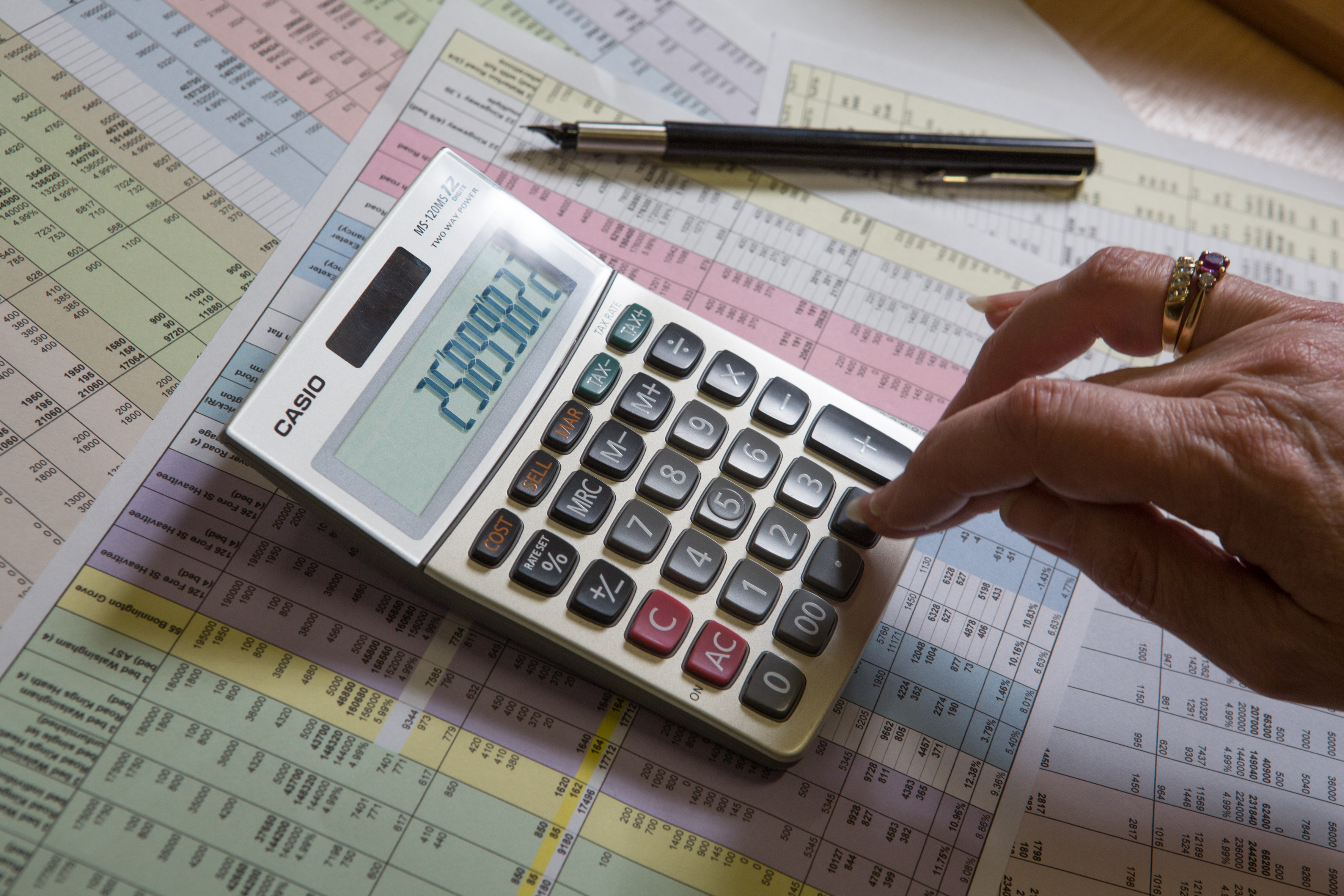 Student using a calculator.