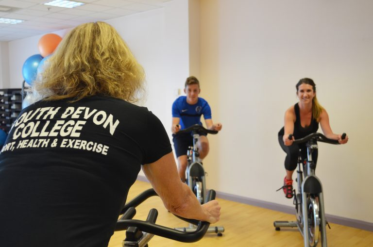 Indoor cycling group.