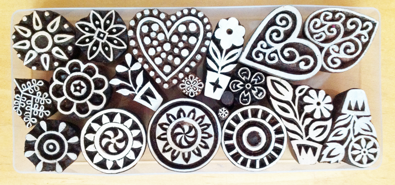 A group of woodblocks.