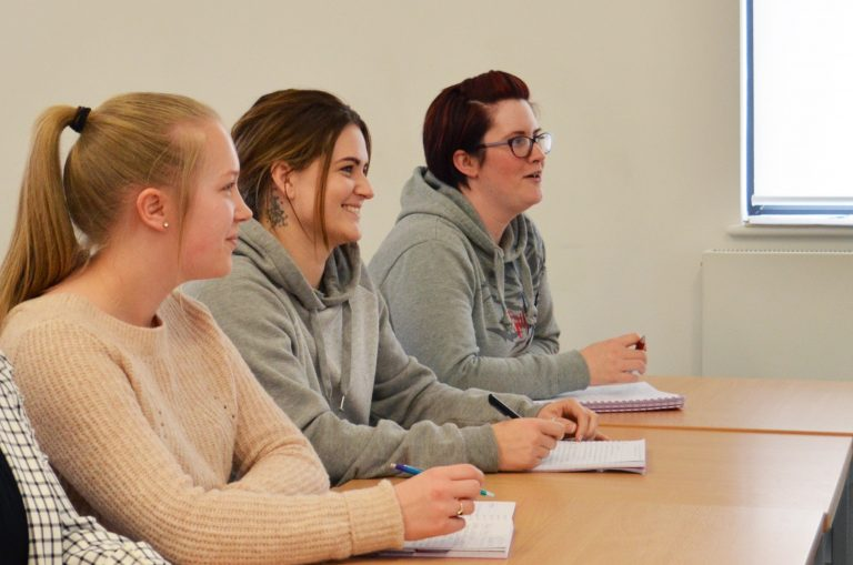 Social science and sociology students in a classroom at our Torquay campus.
