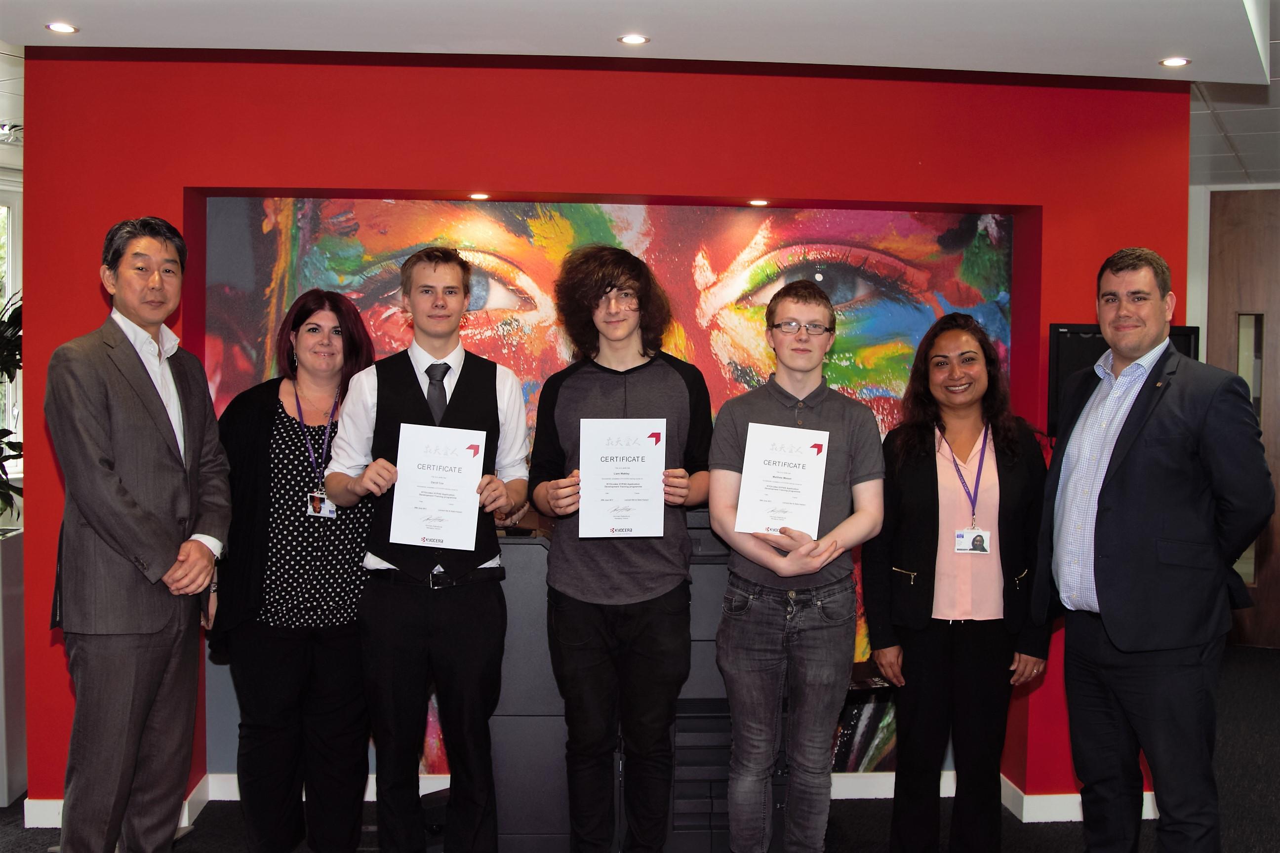 students being presented an award at kyocodes