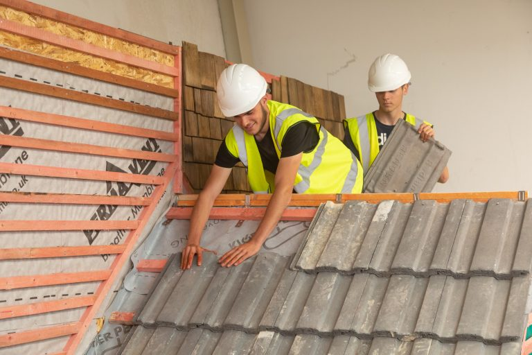 Roof tiling students in our construction department at South Devon College.