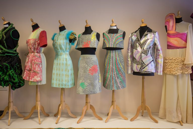 Dresses made by fashion students.