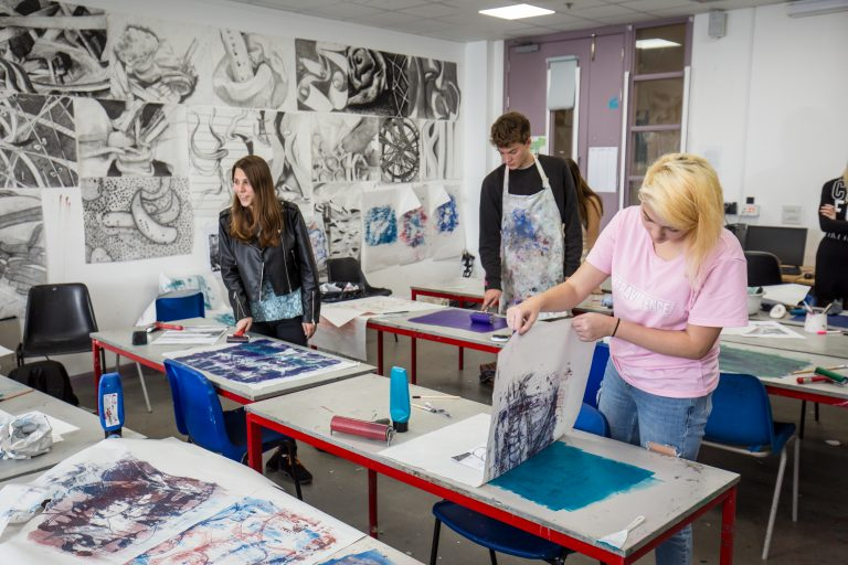 Students print making.