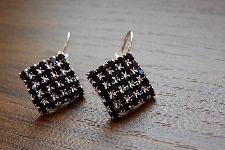 Pair of silver earrings.