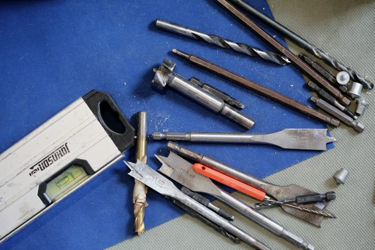 Carpentry tools in workshop.