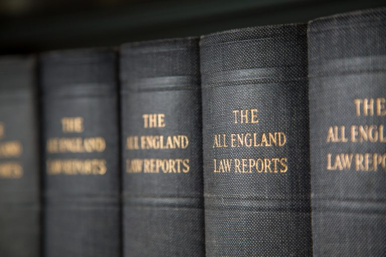 Law reports in the library at South Devon College.