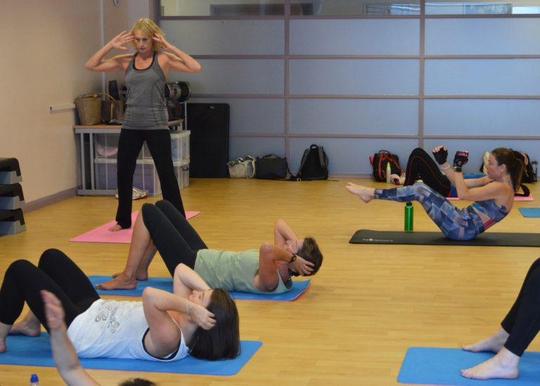 Pilates class at South Devon College.