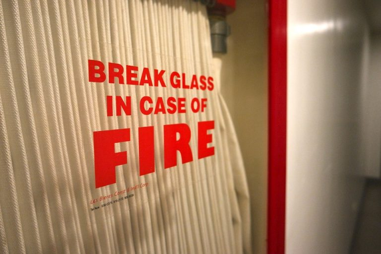 'Break glass in case of fire' message.