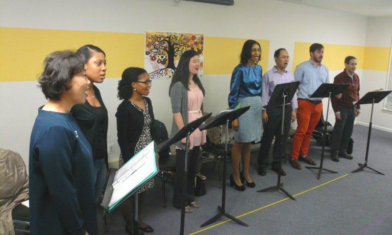 group of people singing