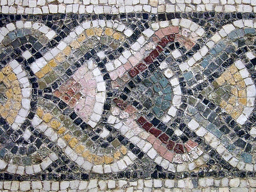 Mosaics made out of recycled materials including stone.