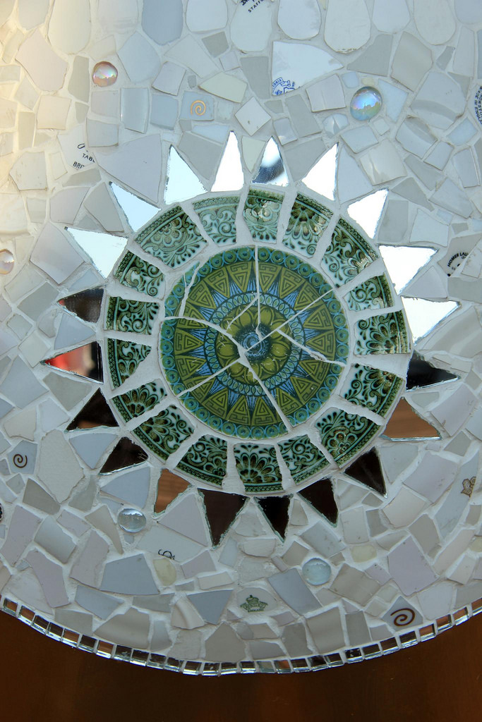 Mosaics made out of recycled materials.