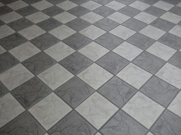 Grey floor tiles.