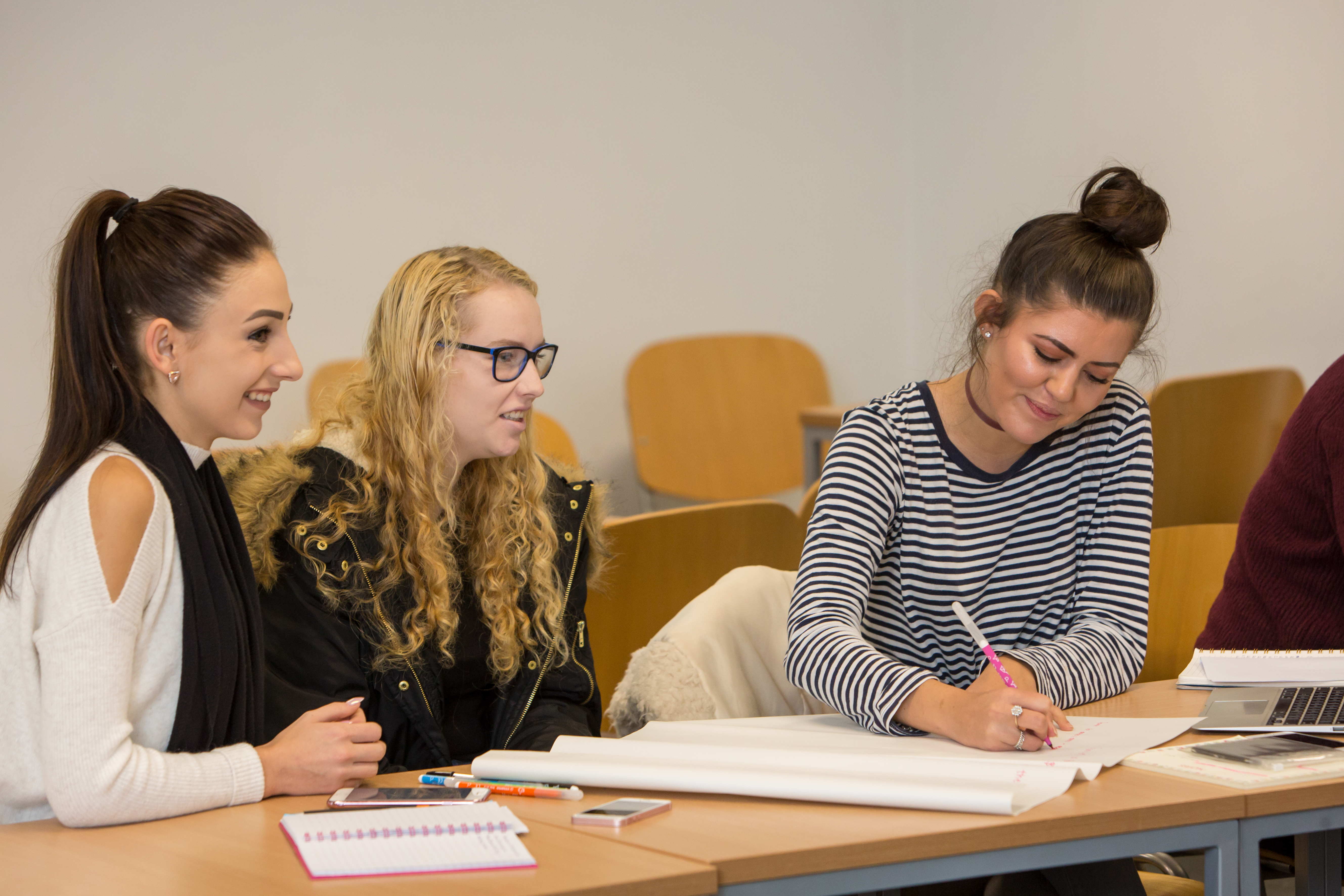 Childcare students in the classroom at University Centre South Devon.