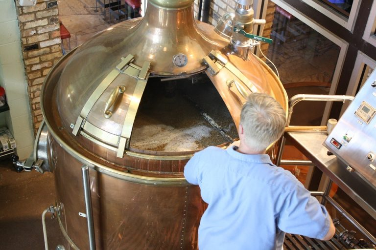 Man brewing beer.