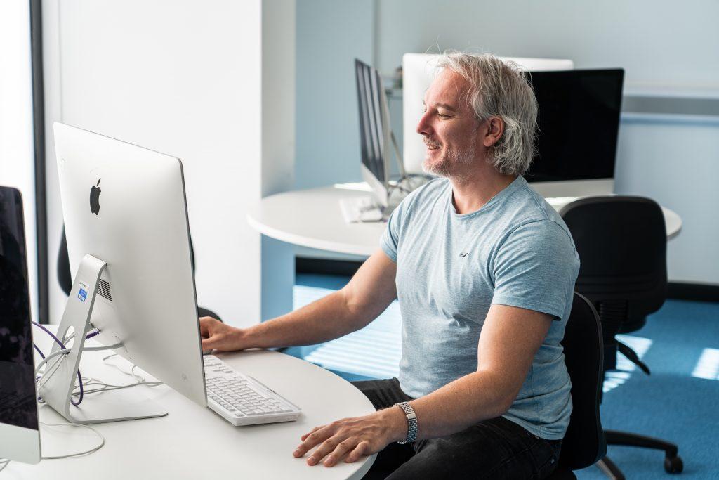 adult studying digital